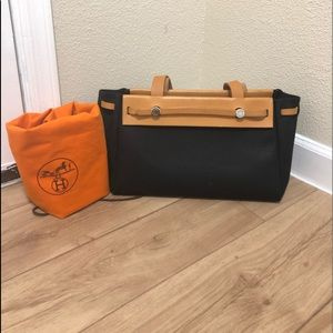 Authentic Hermès Her Bag Cabas MM black orange